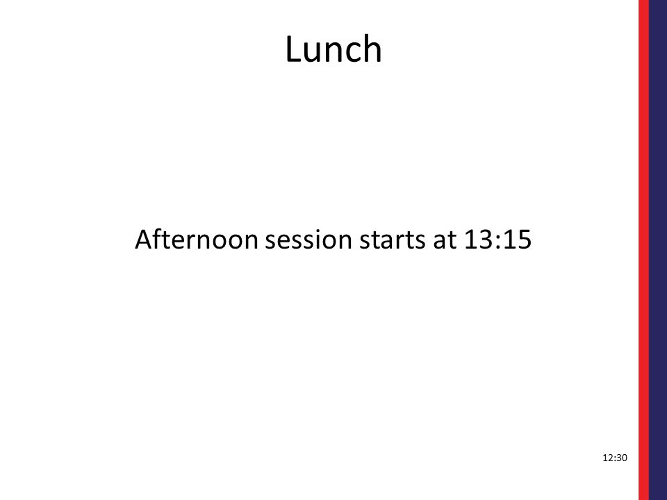Lunch Afternoon session starts at 13:15 12:30