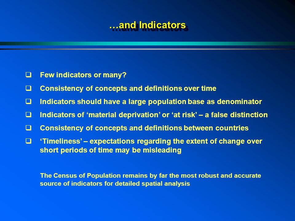 …and Indicators  Few indicators or many.