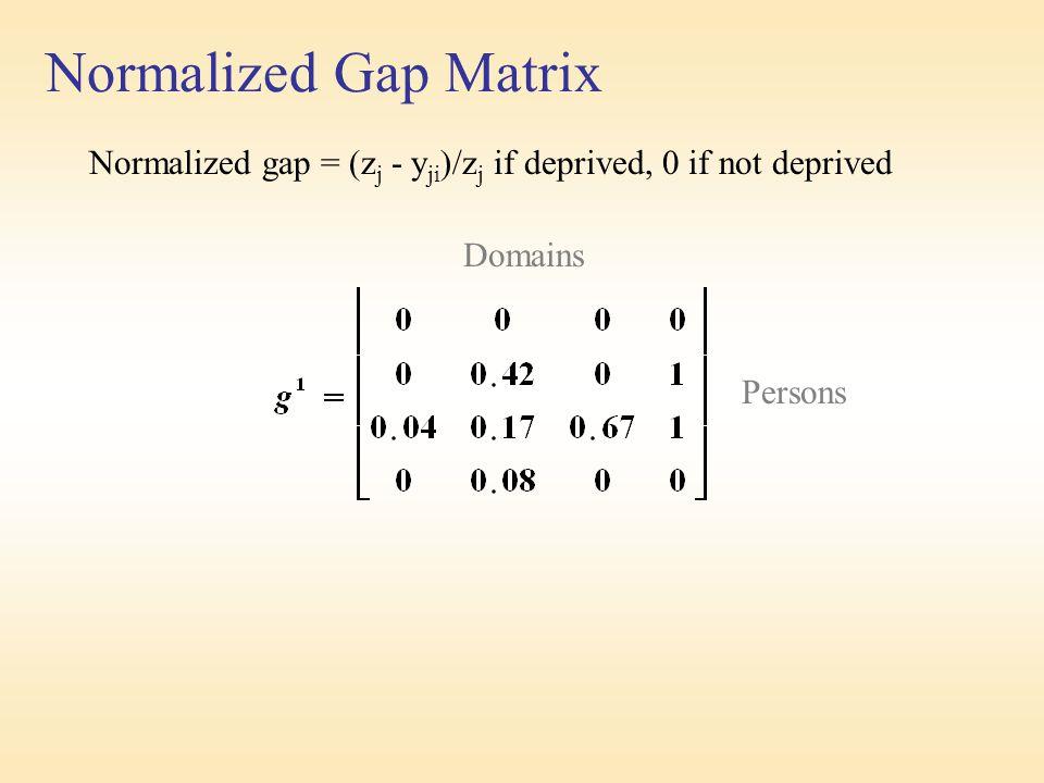 Normalized Gap Matrix Normalized gap = (z j - y ji )/z j if deprived, 0 if not deprived Domains Persons