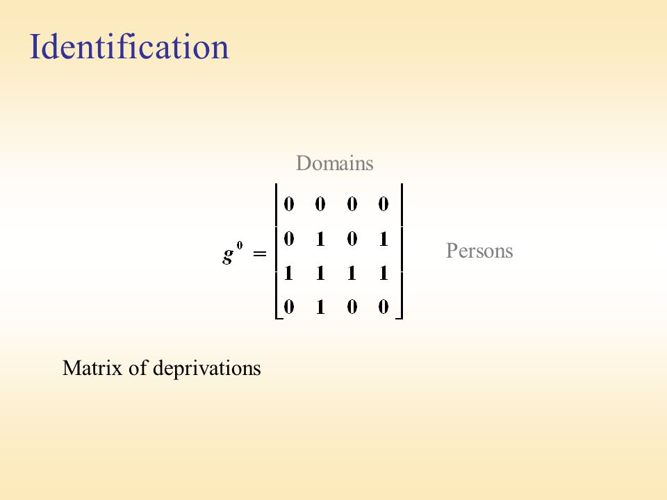 Identification Domains Persons Matrix of deprivations