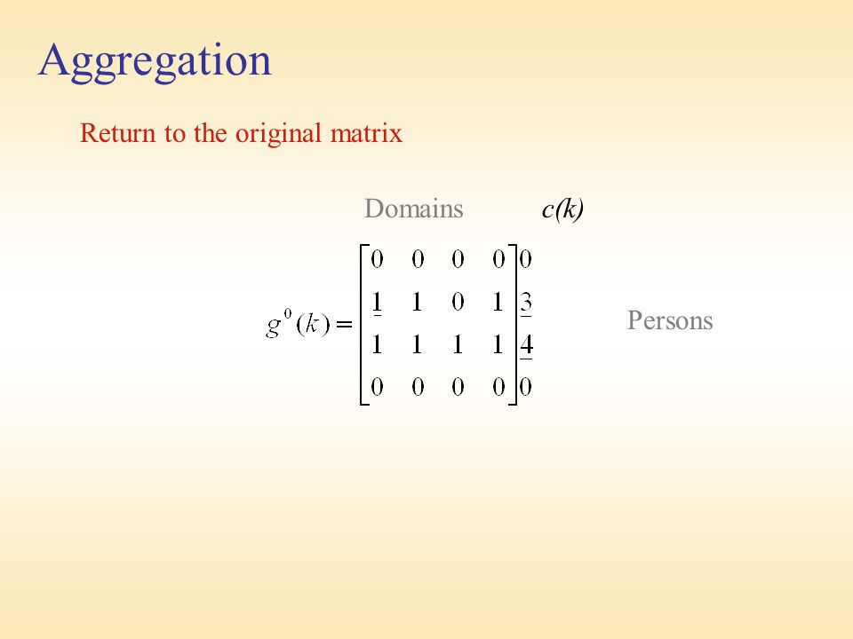 Aggregation Return to the original matrix Domains c(k) Persons