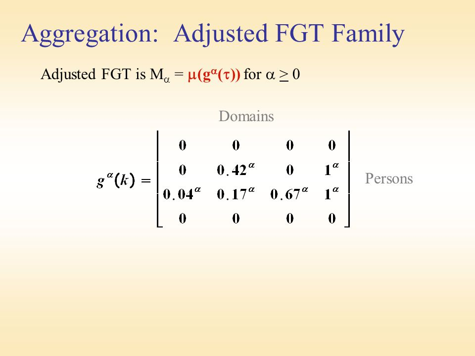 Aggregation: Adjusted FGT Family Adjusted FGT is M  =  (g  (  )) for  > 0 Domains Persons