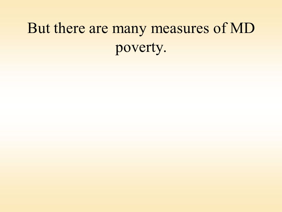 But there are many measures of MD poverty.