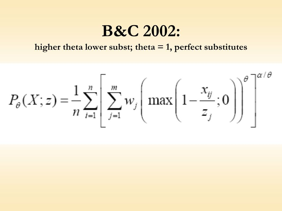 B&C 2002: higher theta lower subst; theta = 1, perfect substitutes