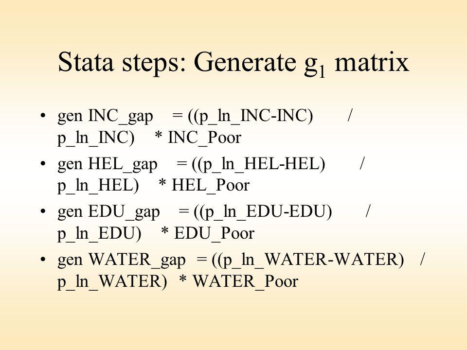 Stata steps: Generate g 1 matrix gen INC_gap = ((p_ln_INC-INC) / p_ln_INC) * INC_Poor gen HEL_gap = ((p_ln_HEL-HEL) / p_ln_HEL) * HEL_Poor gen EDU_gap = ((p_ln_EDU-EDU) / p_ln_EDU) * EDU_Poor gen WATER_gap = ((p_ln_WATER-WATER) / p_ln_WATER) * WATER_Poor