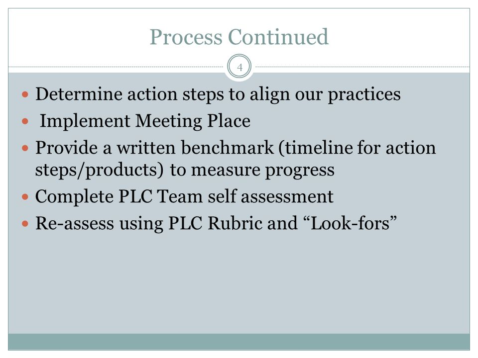 Process Continued 4 Determine action steps to align our practices Implement Meeting Place Provide a written benchmark (timeline for action steps/products) to measure progress Complete PLC Team self assessment Re-assess using PLC Rubric and Look-fors
