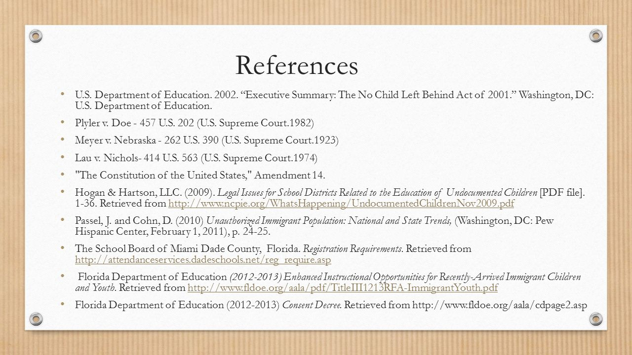 References U.S. Department of Education. 2002.