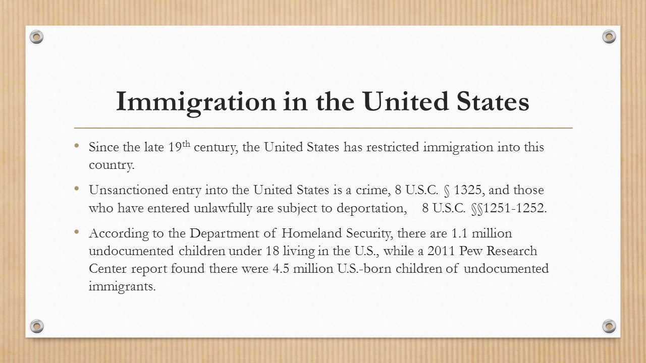 Immigration in the United States Since the late 19 th century, the United States has restricted immigration into this country.