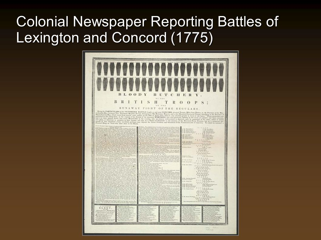 Colonial Newspaper Reporting Battles of Lexington and Concord (1775)