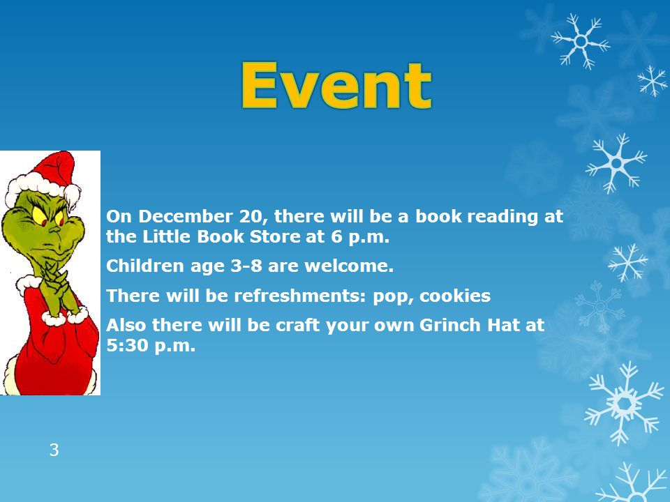  On December 20, there will be a book reading at the Little Book Store at 6 p.m.