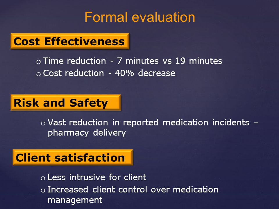 Cost Effectiveness o Time reduction - 7 minutes vs 19 minutes o Cost reduction - 40% decrease Risk and Safety o Less intrusive for client o Increased client control over medication management Client satisfaction o Vast reduction in reported medication incidents – pharmacy delivery Formal evaluation