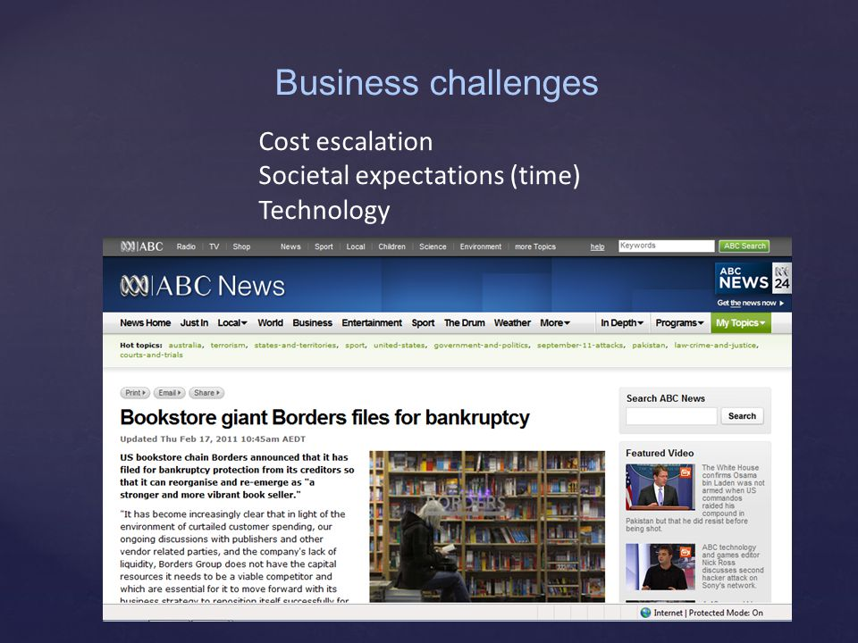 Cost escalation Societal expectations (time) Technology Business challenges