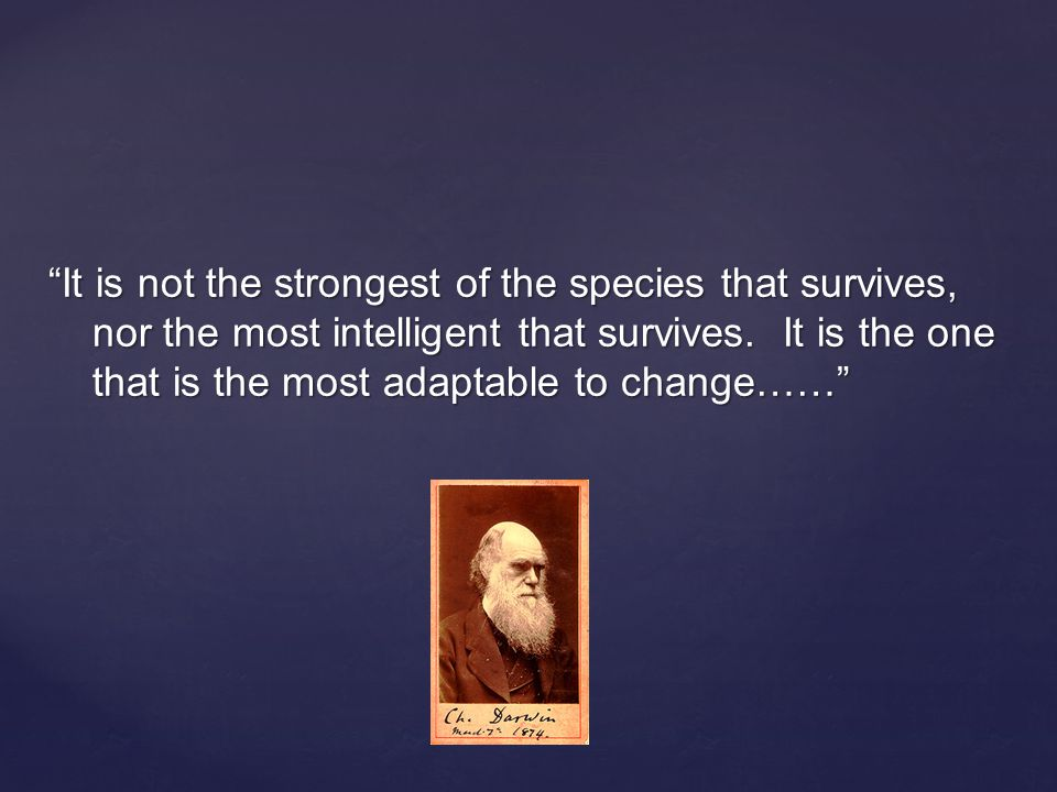 """""""It is not the strongest of the species that survives, nor the most intelligent that survives. It is the one that is the most adaptable to change……"""""""