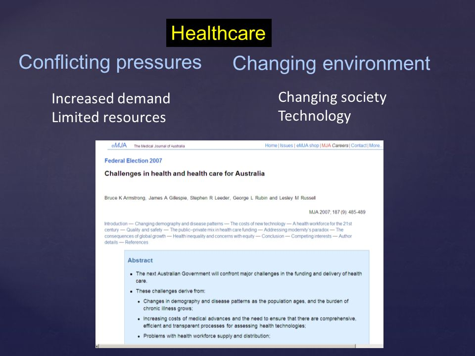 Conflicting pressures Increased demand Limited resources Changing environment Changing society Technology Healthcare