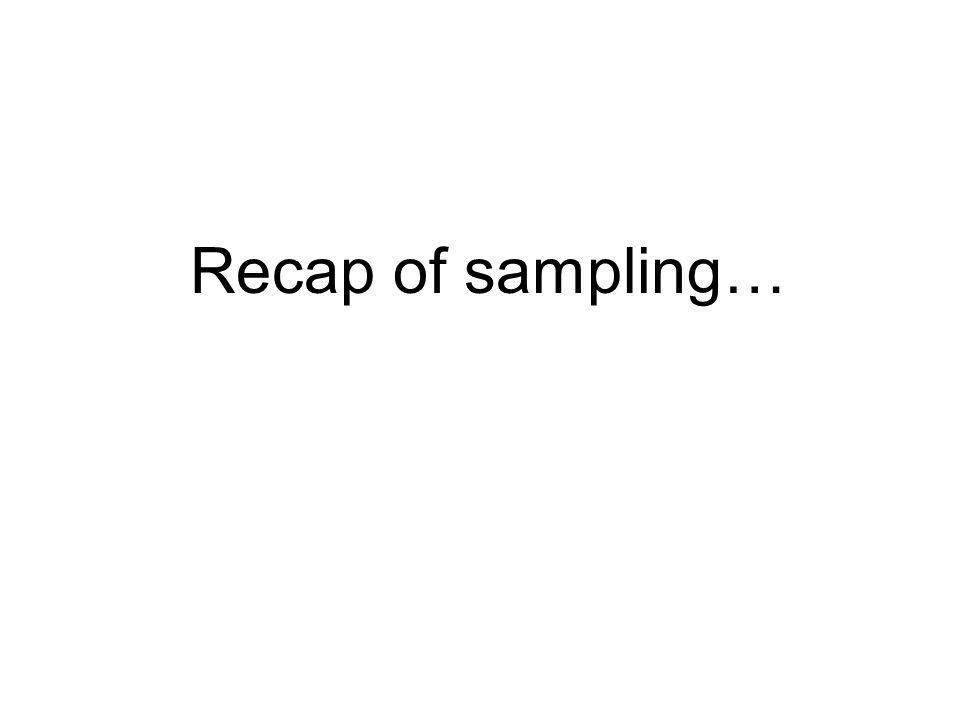 Recap of sampling…