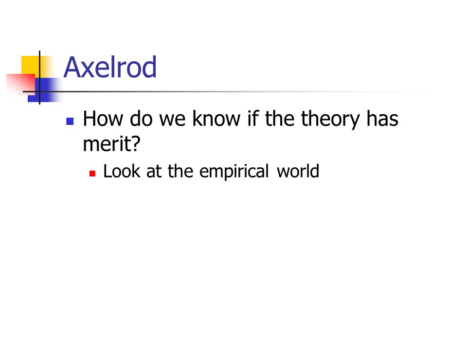 Axelrod How do we know if the theory has merit Look at the empirical world