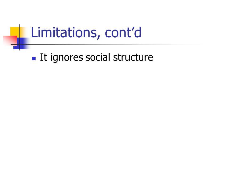 Limitations, cont'd It ignores social structure