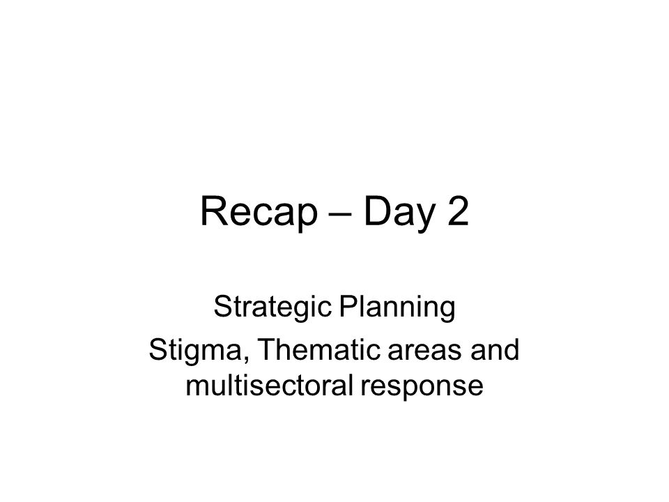 Recap – Day 2 Strategic Planning Stigma, Thematic areas and multisectoral response