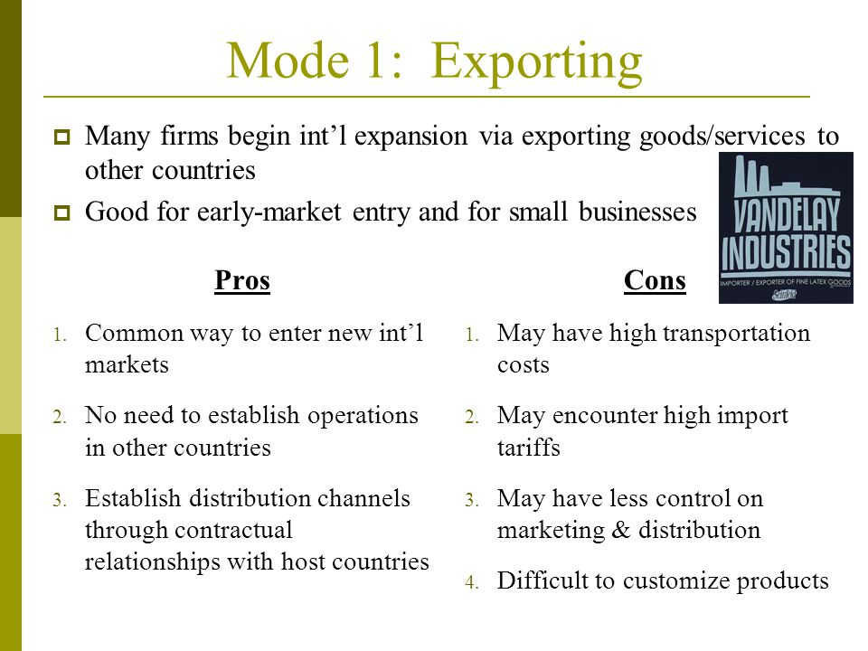Mode 1: Exporting Pros 1.Common way to enter new int'l markets 2.