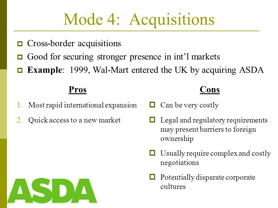 Mode 4: Acquisitions Pros 1.Most rapid international expansion 2.Quick access to a new market Cons  Can be very costly  Legal and regulatory requirements may present barriers to foreign ownership  Usually require complex and costly negotiations  Potentially disparate corporate cultures  Cross-border acquisitions  Good for securing stronger presence in int'l markets  Example: 1999, Wal-Mart entered the UK by acquiring ASDA