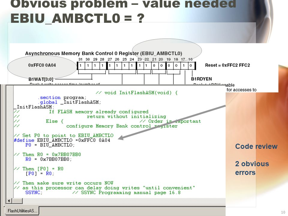 Blackfin BF533 I/O10 Obvious problem – value needed EBIU_AMBCTL0 = Code review 2 obvious errors