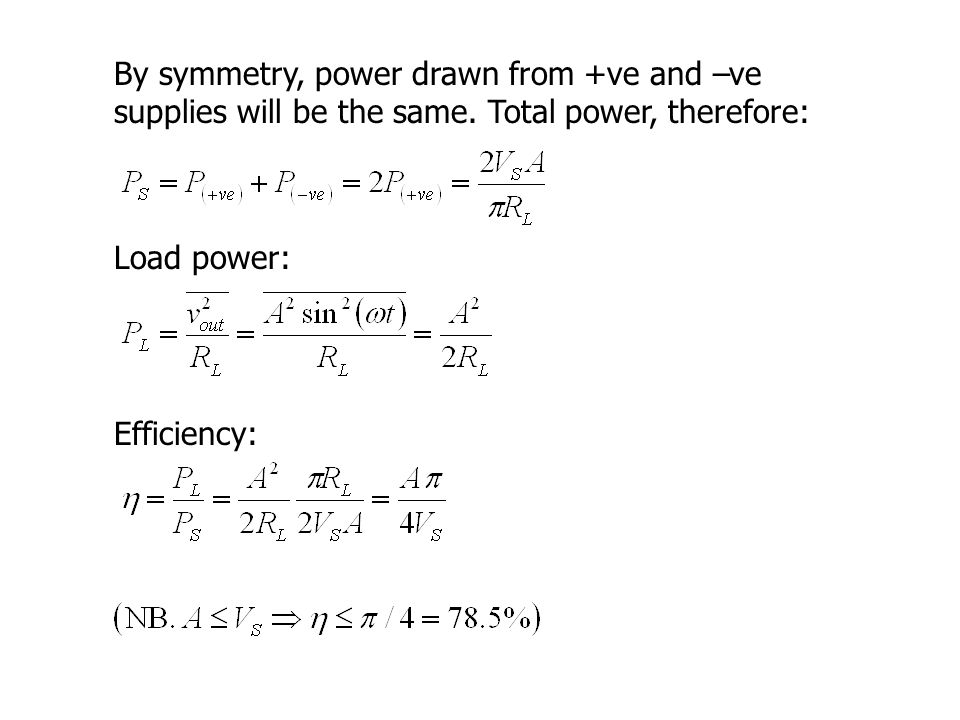 By symmetry, power drawn from +ve and –ve supplies will be the same.