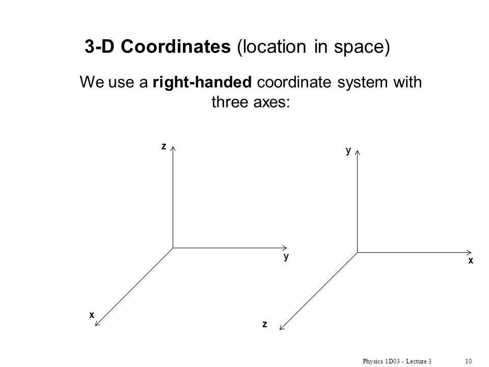Physics 1D03 - Lecture 310 3-D Coordinates (location in space) y z x y x z We use a right-handed coordinate system with three axes: