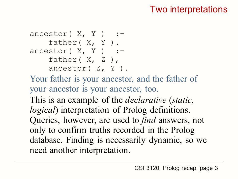 CSI 3120, Prolog recap, page 3 Two interpretations ancestor( X, Y ) :- father( X, Y ).
