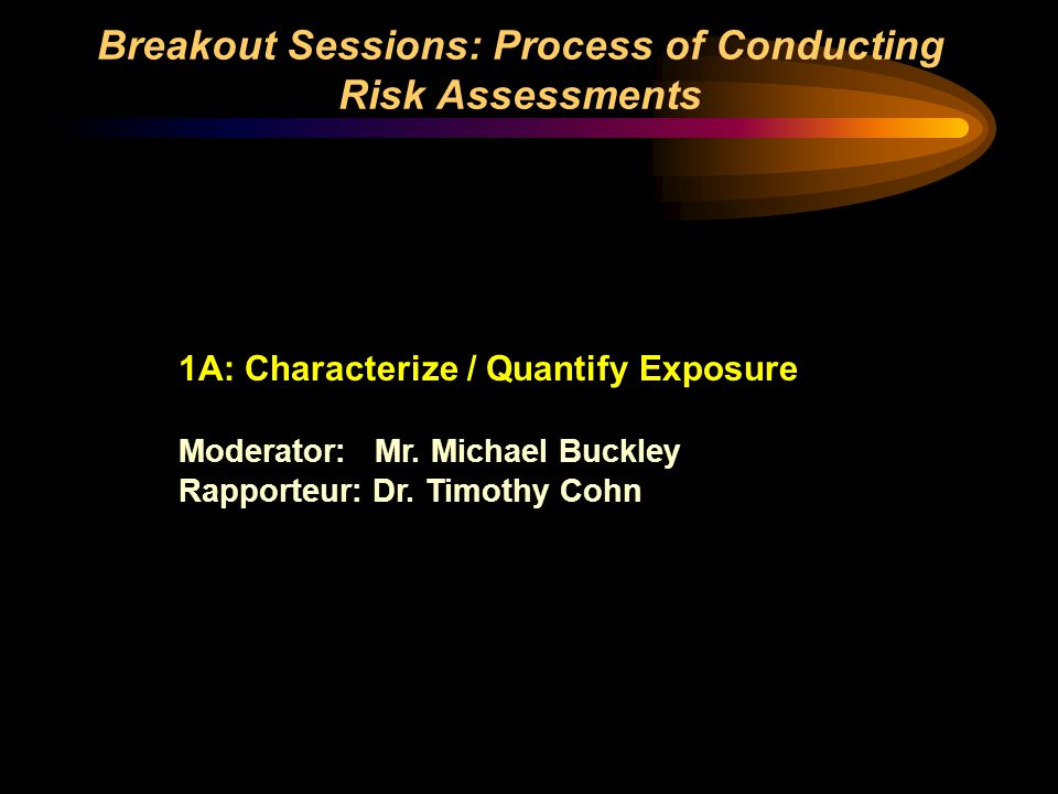 Breakout Sessions: Process of Conducting Risk Assessments 1A: Characterize / Quantify Exposure Moderator: Mr. Michael Buckley Rapporteur: Dr. Timothy