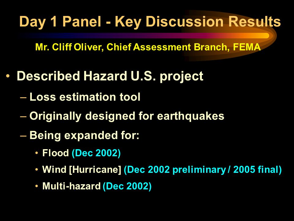 Described Hazard U.S. project –Loss estimation tool –Originally designed for earthquakes –Being expanded for: Flood (Dec 2002) Wind [Hurricane] (Dec 2