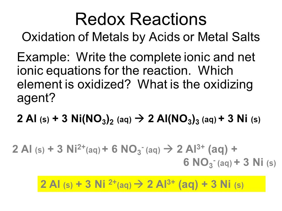 Redox Reactions Oxidation of Metals by Acids or Metal Salts Example: Write the complete ionic and net ionic equations for the reaction.