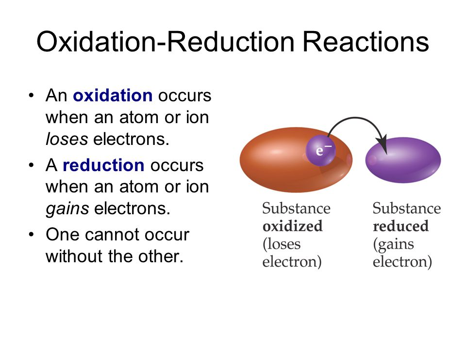 Oxidation-Reduction Reactions An oxidation occurs when an atom or ion loses electrons.