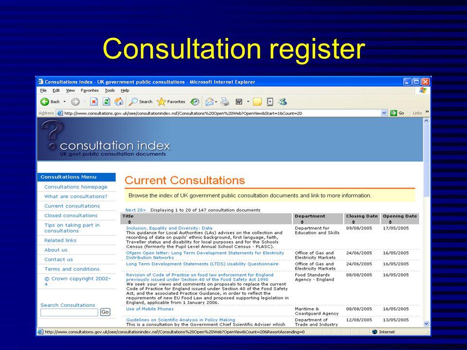 Consultation register