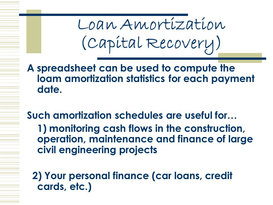 Loan Amortization (Capital Recovery) A spreadsheet can be used to compute the loam amortization statistics for each payment date.
