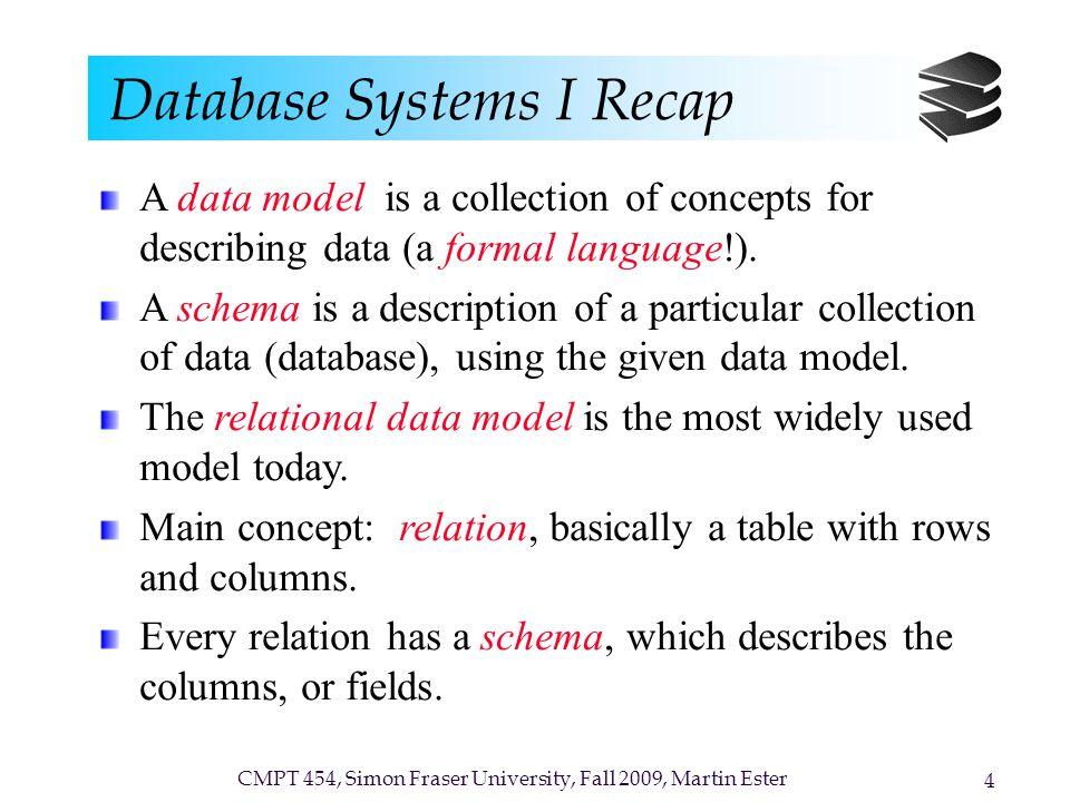 CMPT 454, Simon Fraser University, Fall 2009, Martin Ester 4 Database Systems I Recap A data model is a collection of concepts for describing data (a
