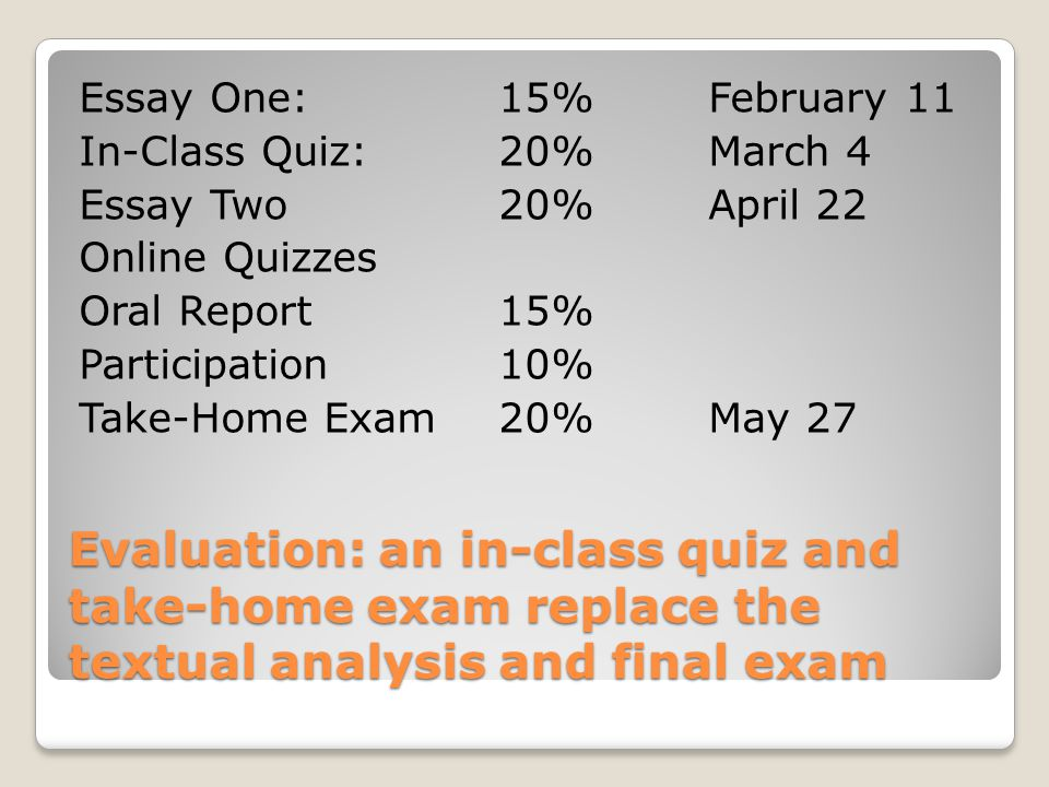 Evaluation: an in-class quiz and take-home exam replace the textual analysis and final exam Essay One:15%February 11 In-Class Quiz:20%March 4 Essay Two20%April 22 Online Quizzes Oral Report15% Participation10% Take-Home Exam20%May 27