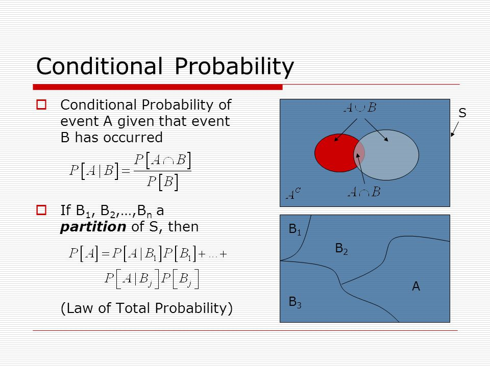 Conditional Probability  Conditional Probability of event A given that event B has occurred  If B 1, B 2,…,B n a partition of S, then (Law of Total Probability) S B1B1 B3B3 B2B2 A