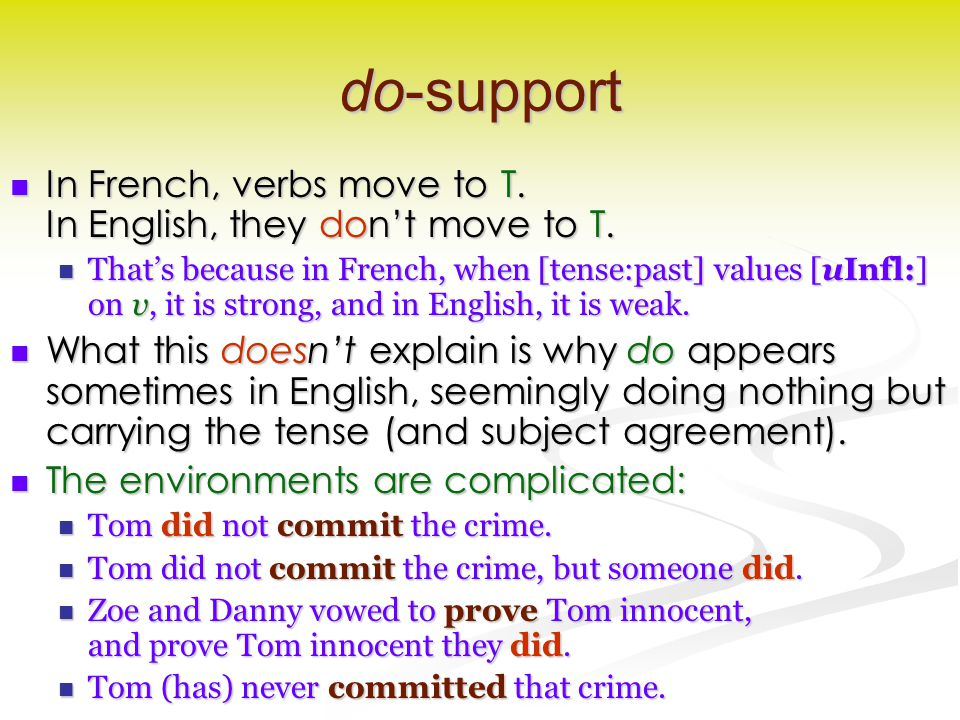 do-support In French, verbs move to T.In English, they don't move to T.