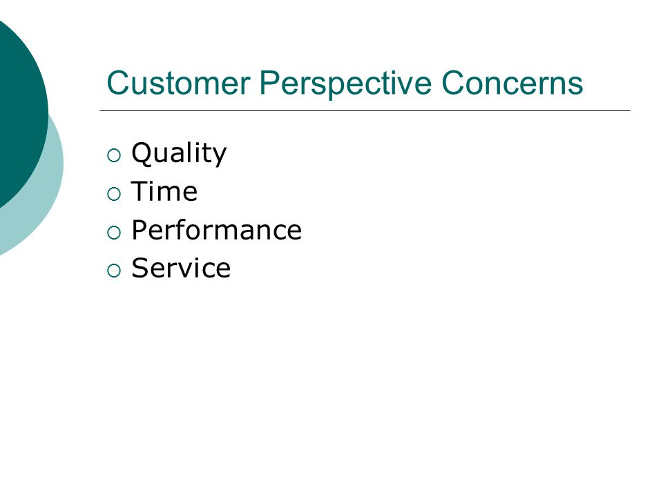 Customer Perspective Measures No CreditPartial CreditFull Credit Customer Buying Criteria <= 2121 – 39>= 39 Customer Awareness <= 50%50% - 90%>= 90% Customer Accessibility <= 50%50% - 90%>= 90% Product Count <= 11 – 8>= 8 SG&A Expense (SG&A / sales) = 25% 5% - 7% or 20% - 25% 7% - 20%