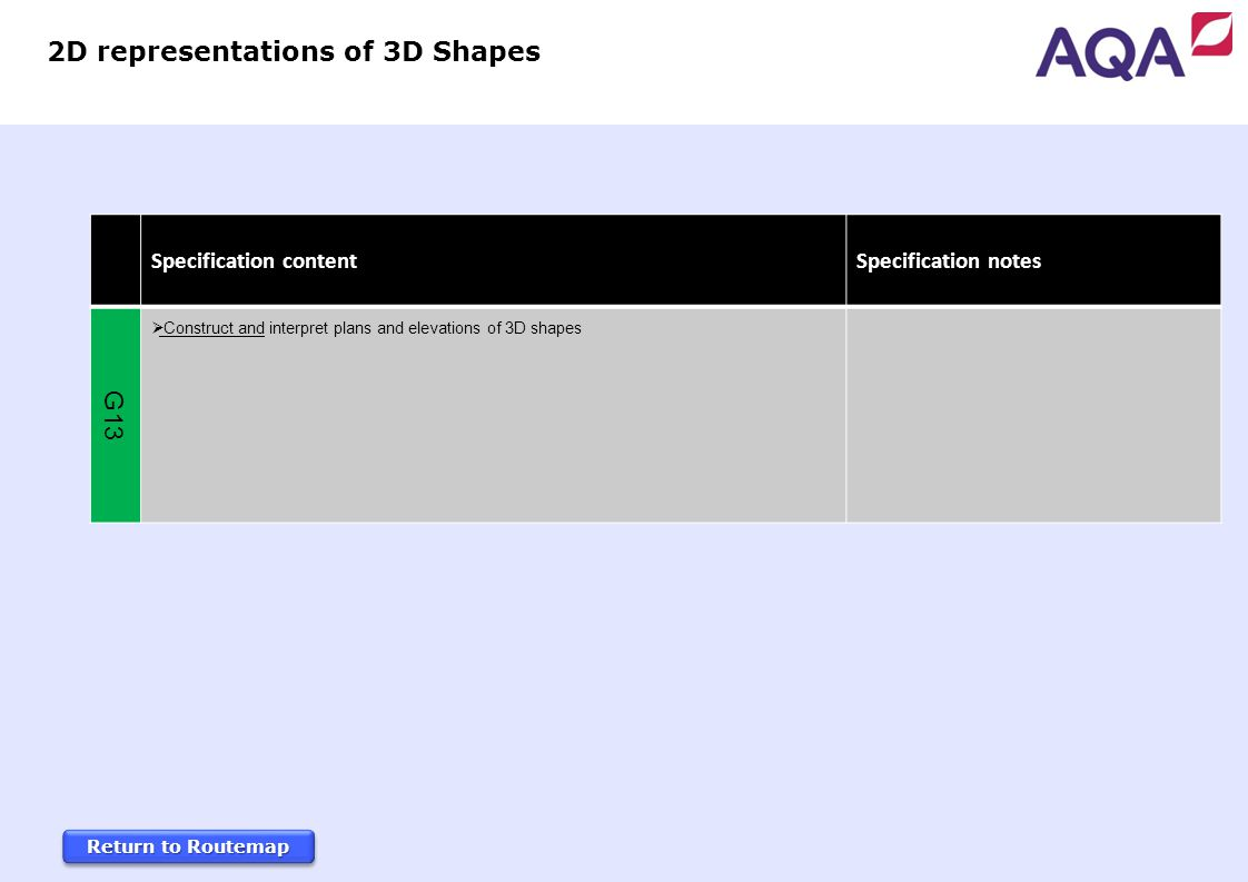 Return to Routemap Return to Routemap Return to Routemap Return to Routemap Specification content Specification notes G13  Construct and interpret plans and elevations of 3D shapes 2D representations of 3D Shapes