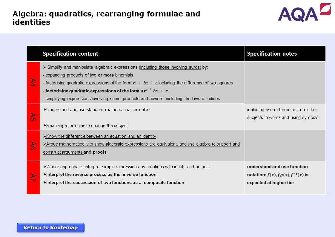 Return to Routemap Return to Routemap Return to Routemap Return to Routemap Specification content Specification notes A4 A5  Understand and use standard mathematical formulae  Rearrange formulae to change the subject including use of formulae from other subjects in words and using symbols.