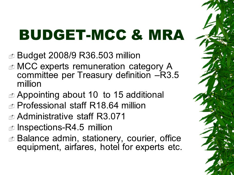 BUDGET-MCC & MRA  Budget 2008/9 R36.503 million  MCC experts remuneration category A committee per Treasury definition –R3.5 million  Appointing about 10 to 15 additional  Professional staff R18.64 million  Administrative staff R3.071  Inspections-R4.5 million  Balance admin, stationery, courier, office equipment, airfares, hotel for experts etc.