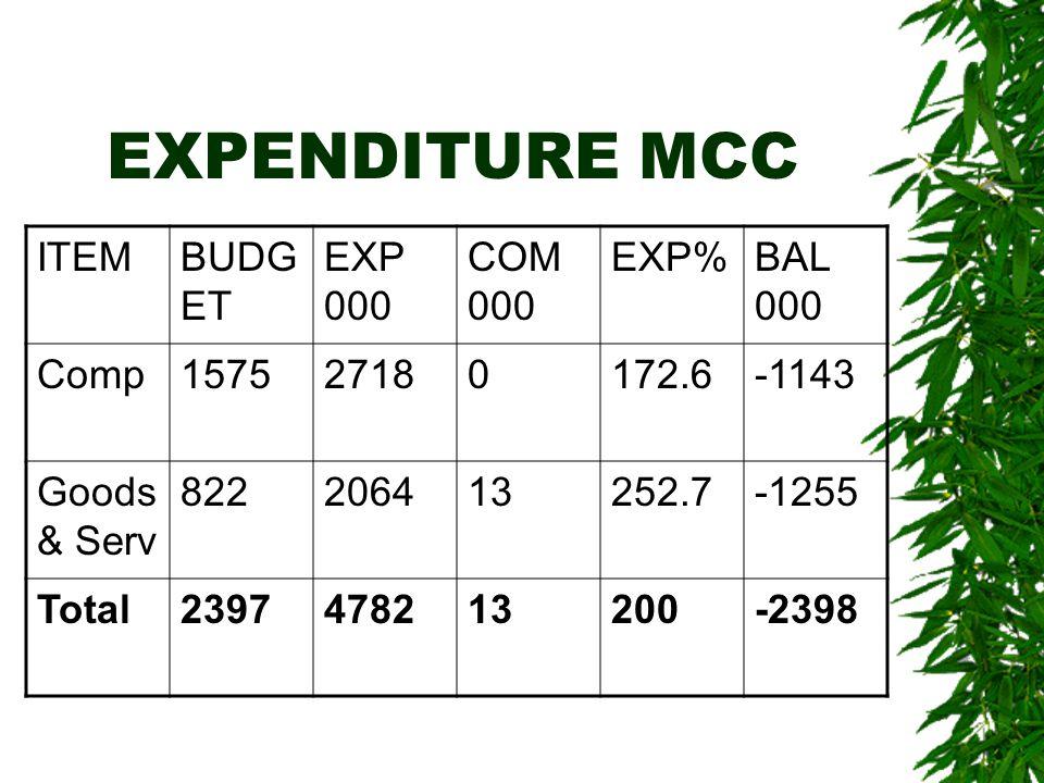 EXPENDITURE MCC ITEMBUDG ET EXP 000 COM 000 EXP%BAL 000 Comp157527180172.6-1143 Goods & Serv 822206413252.7-1255 Total2397478213200-2398