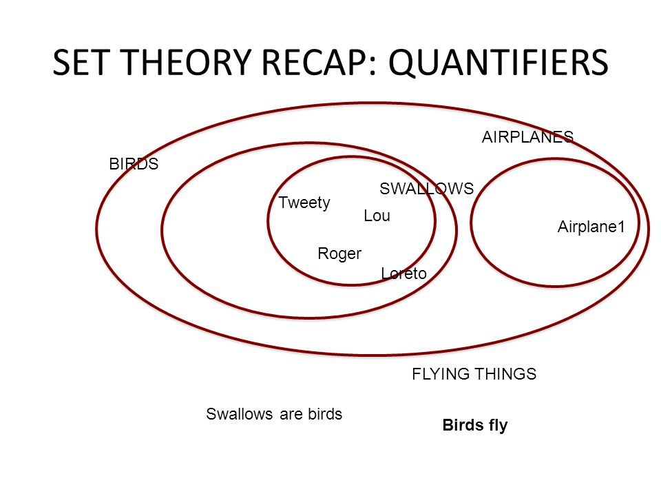 SET THEORY RECAP: QUANTIFIERS SWALLOWS Tweety Lou Roger Loreto Swallows are birds BIRDS Airplane1 AIRPLANES FLYING THINGS Birds fly