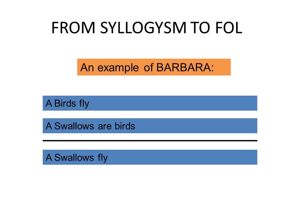 FROM SYLLOGYSM TO FOL A Birds fly A Swallows are birds A Swallows fly An example of BARBARA: