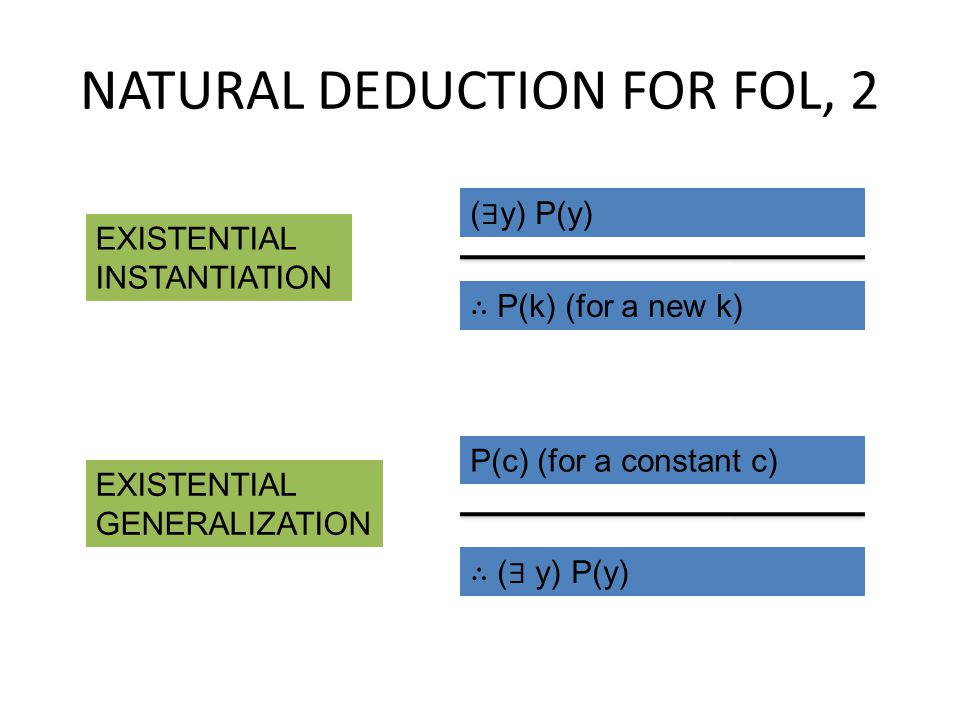 NATURAL DEDUCTION FOR FOL, 2 ( ∃ y) P(y) ∴ P(k) (for a new k) EXISTENTIAL INSTANTIATION ∴ ( ∃ y) P(y) P(c) (for a constant c) EXISTENTIAL GENERALIZATI