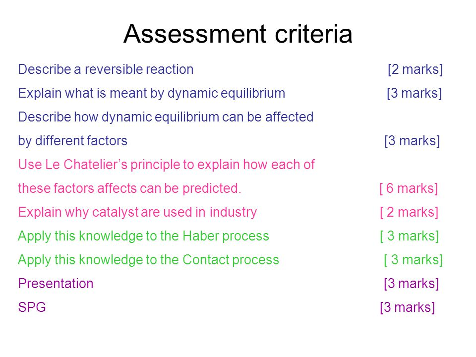Assessment criteria Describe a reversible reaction [2 marks] Explain what is meant by dynamic equilibrium [3 marks] Describe how dynamic equilibrium c