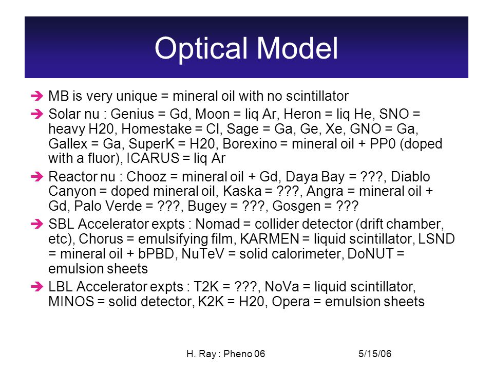 5/15/06H. Ray : Pheno 06 Optical Model  MB is very unique = mineral oil with no scintillator  Solar nu : Genius = Gd, Moon = liq Ar, Heron = liq He,