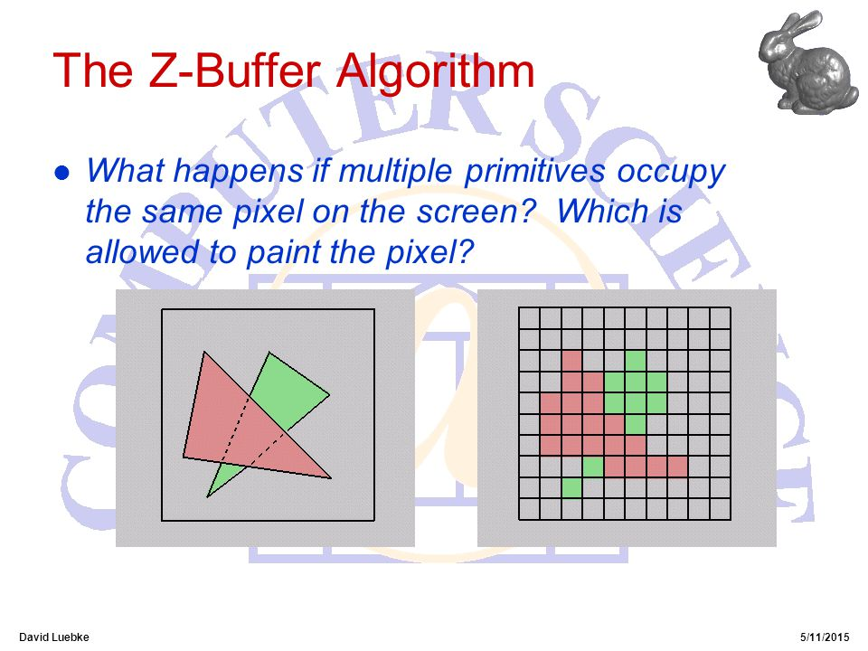 David Luebke5/11/2015 The Z-Buffer Algorithm l What happens if multiple primitives occupy the same pixel on the screen.