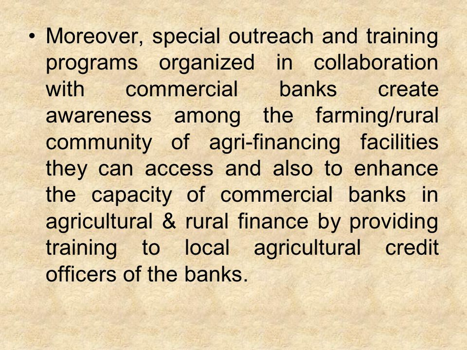 What areas are covered under the Agricultural Loans scheme?